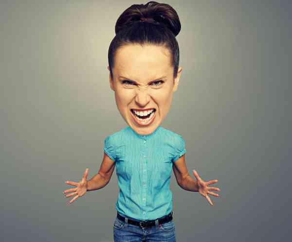 angry woman with big head over grey background